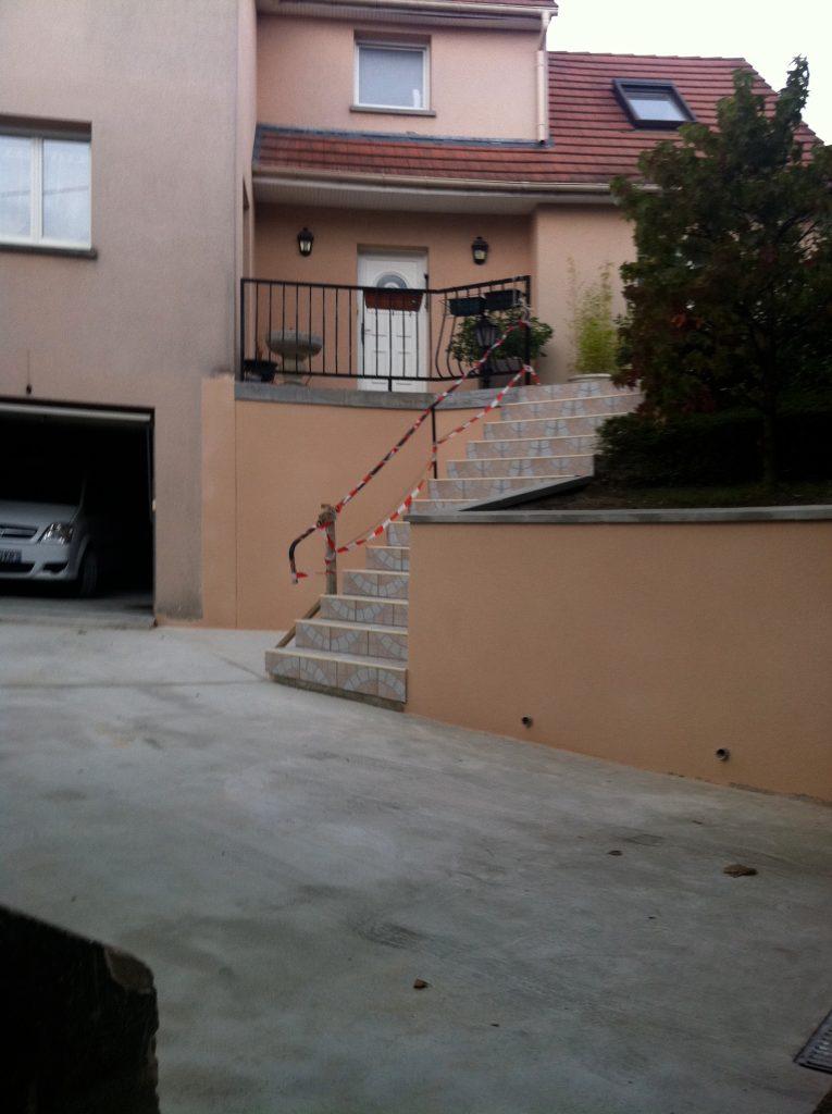 contruction entrée de garage beton